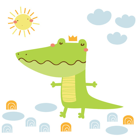 Funny cartoon crocodile vector card. Doodle vector illustration Çizim