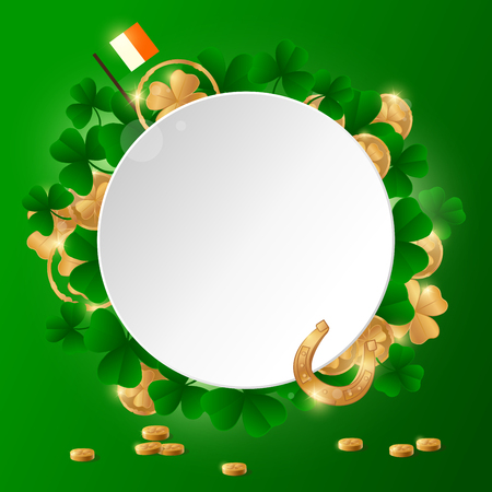 St. Patricks Day design template with clover and golden coins