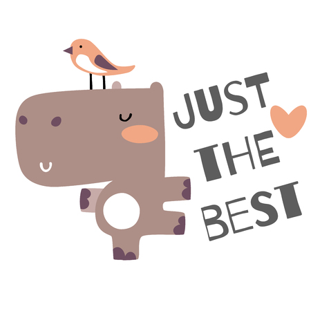 cute baby hippo with bird vector illustration card