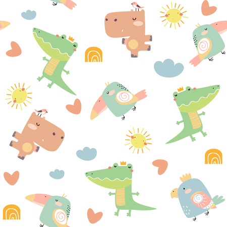 Childish seamless pattern with birds and animals