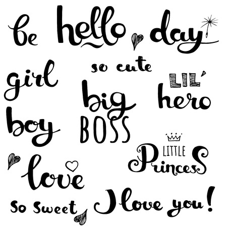 Set of hand written phrases. Lettering typography print. Isolated vector illustration Illustration