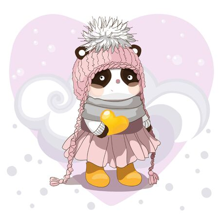 Cute baby panda vector illustration. Winter postcard typography print