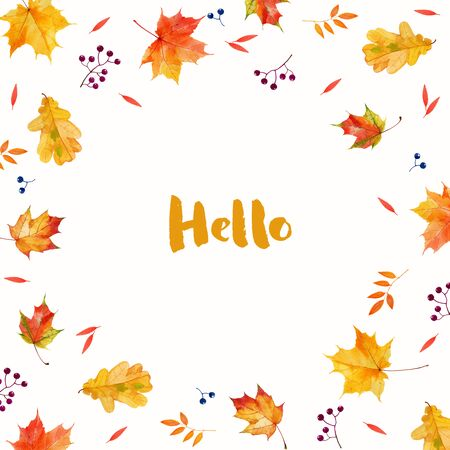 Autumnal watercolor leaves abstract background. Hello autumn illustration