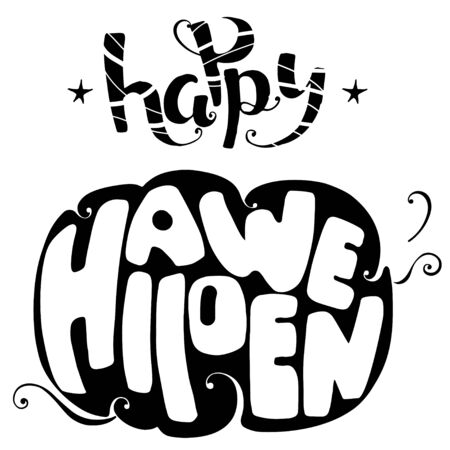 Happy Halloween lettering vector illustration card