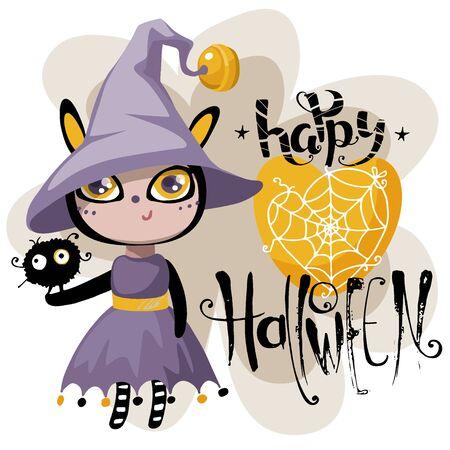 Happy Halloween greeting card. Illustration