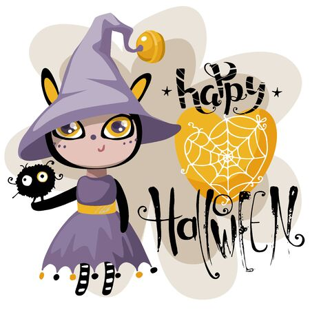 Happy Halloween greeting card. Çizim