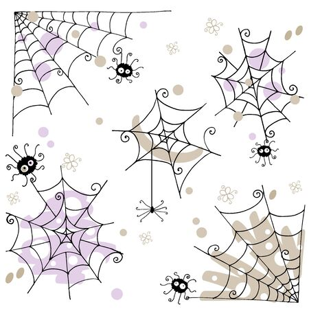 Doodle spider and cobweb hand drawn vector illustration Çizim