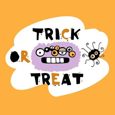 Trick or treat vector illustration. Doodle monster card