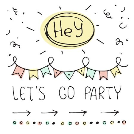 Hand drawn abstract greeting card. Funny party vector illustration