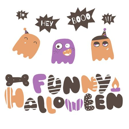 Halloween doodle greeting card. Cute ghosts vector illustration.