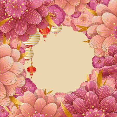 Happy Chinese new year background with flowers