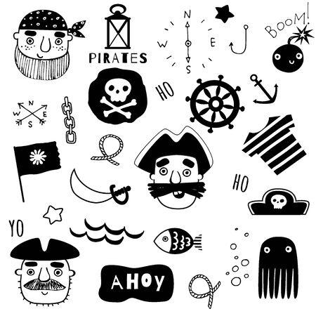 Set of nautical and piratical black elements 矢量图像