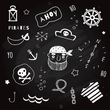 Set of nautical and piratical elements on blackboard