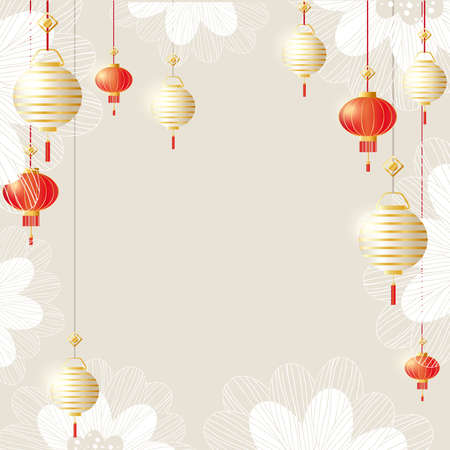 Happy Chinese new year background with white and red lanterns