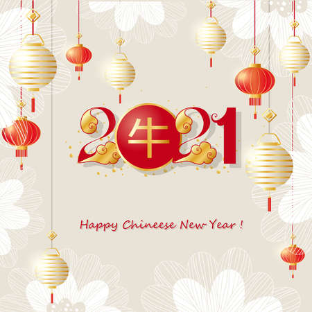 Chinese new year 2021 greeting card with lanterns