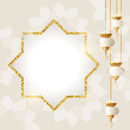 Islamic holidays vector illustration golden template with lanterns