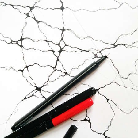 Neurographic lines and marker art background illustration