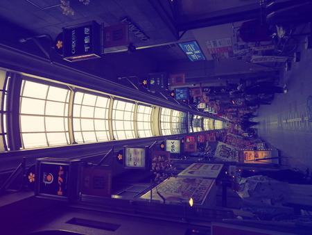 일본에서 가장 긴 쇼핑 지구인 텐진 바시 스지 상점가. 스톡 콘텐츠