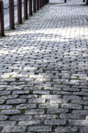 Cobblestone sidewalk with rails in Philadelphia
