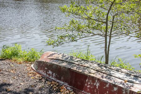 Upside down Rowboat on a Delaware lakeside