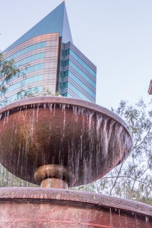 fountainhead: Fountain in a park in Santiago Chile Stock Photo