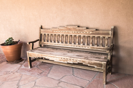 A Simple Wooden Bench on a New Mexico Patio