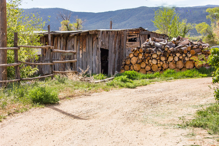New Mexico Mountain and an old worn out shack Stock Photo