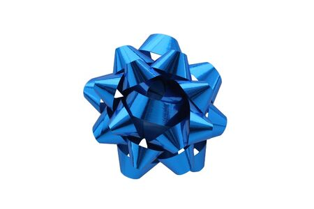 A horizontal color photo of a blue gift wrap bow isolated over a white background. photo