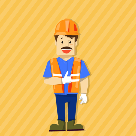 dangerous construction: safety character Illustration
