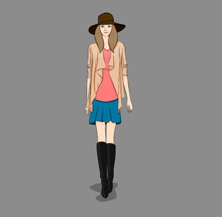 fashion design: fashion model design summer Illustration