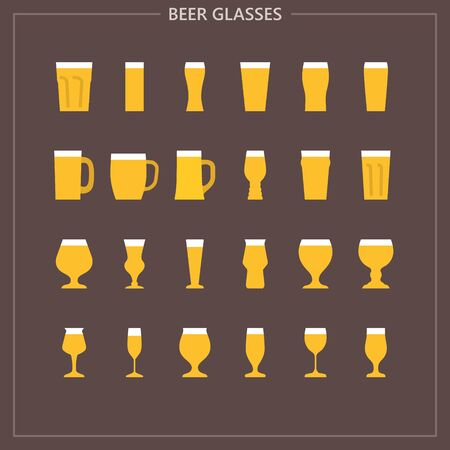 Beer glass colored iconset Vettoriali