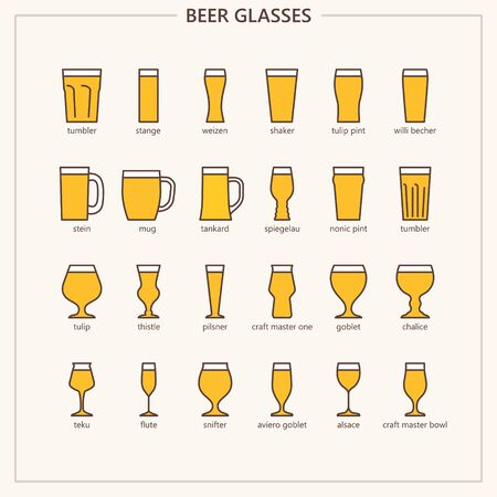 Beer glass colored outline iconset