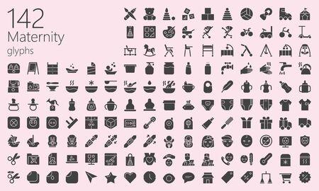 Maternity black filled glyphs icons