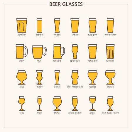 Beer glasses outline colored iconset Vettoriali