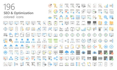 SEO colored outline iconset