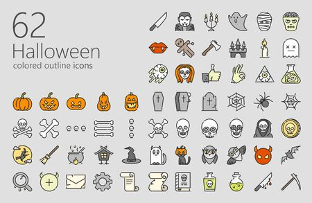 Halloween outline colored iconset