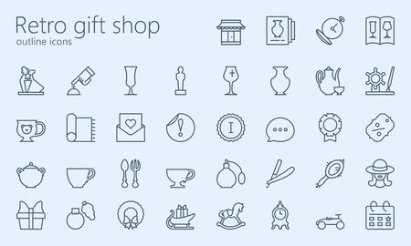 Retro gift shop outline iconset