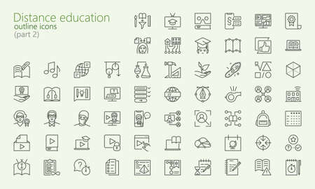 Distance learning outline iconset part 2 for web, mobile app, presentation and other. Was created with grids for pixel perfect.