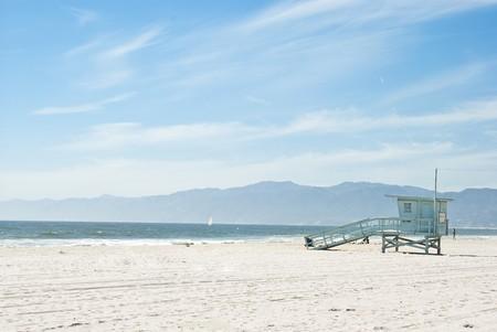 guard house: a beautiful sunny day in venice beach, california