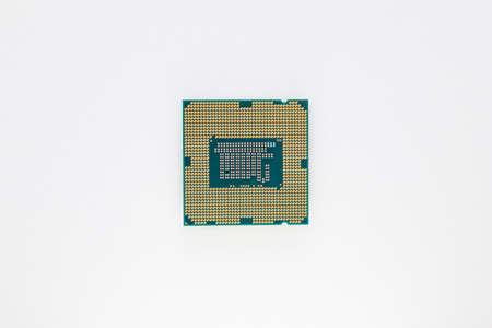 Computer microprocessor isolated on white background Foto de archivo