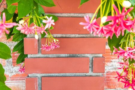 Beautiful background of closeup red brown brick wall with green pink flowers on sides. With copy space ideal for use in the design or wallpaper 写真素材