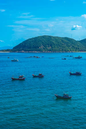 Beauty panorama skyline in pure blue azure sea, clear sky, mountain island background, sailing boats. For design wallpaper. Tourism recreation after pandemic summer vacation concept Stockfoto