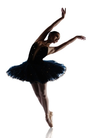 ballet silhouette: Silhouette of a beautiful female ballet dancer isolated on a white background. Ballerina is wearing a royal blue tutu and pointe shoes.