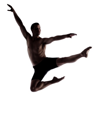 contemporary: Silhouette of an muscular adult male modern contemporary ballet style dancer  Dancer is wearing black ski pants and is isolated on a white background