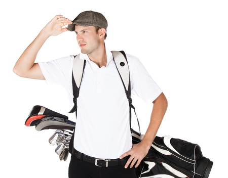 Handsome young professional golf player wearing a white shirt and black pants. He is carrying a golf bag on his back and is looking out. photo