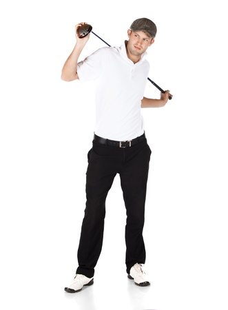 Handsome young professional golf player wearing a white shirt and black pants. He is holding a golf club and stretching his back. photo