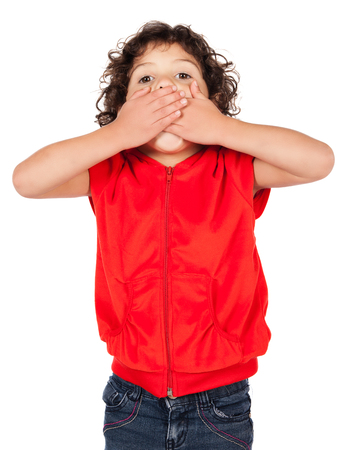 hooded top: Adorable small caucasian child with curly hair wearing a bright red hooded top and blue jeans. The girl is surprised and covering her mouth with her hands.