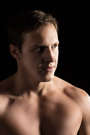 mixed martial arts: Portrait of a handsome caucasian male mixed martial arts fighter. Stock Photo