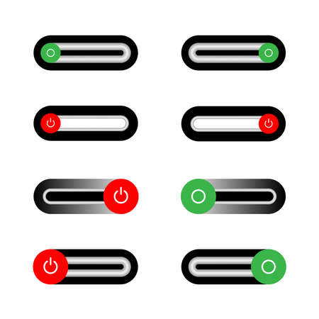 On Off slider style power buttons, The Off buttons are enclosed in red, Illustration