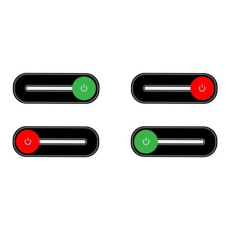 Set of 2 On Off push power buttons with dark grey background, The Off buttons are enclosed in red circle and the on buttons in green circle, Illustration